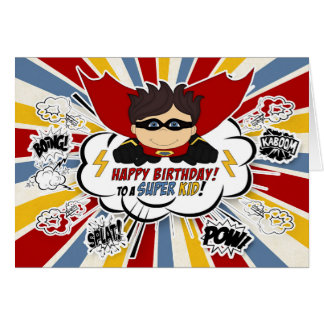 Boys Birthday Super Kid Red and Blue Comic Book Card