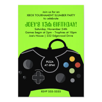 BOYS Birthday Video Game Station Party Invitation