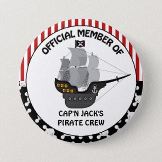 Boys Black Pirate Ship 7.5 Cm Round Badge