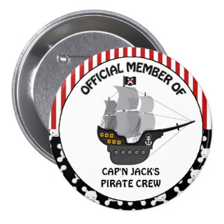 Boys Black Pirate Ship 7.5 Cm Round Badge