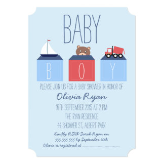 Boys Blocks Baby shower Invitation