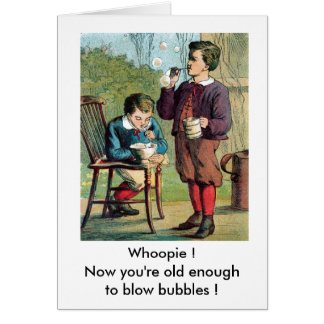 Boys Blowing Bubbles Card