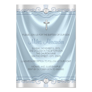 Boys Blue and Gray Baptism Christening Card