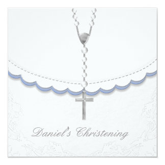 Boys Blue and Gray Christening Invitations