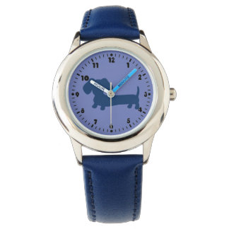 Boys Blue Dachshund Leather Wiener Dog Watch