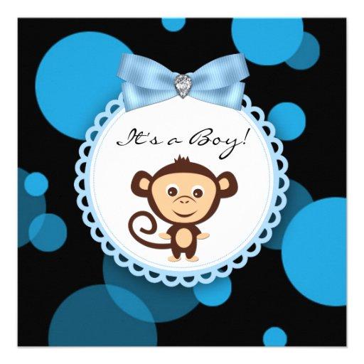 Boys Blue Monkey Baby Shower Invites