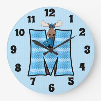 "Boy's Blue Moose Knit Pattern Mongoram ""M"" Large Clock"