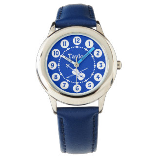 Boys blue name violin music wrist watch