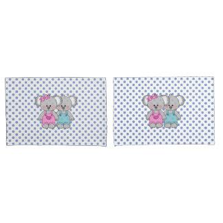 Boys Blue Polka Dot Koala Bear Pillow Case set