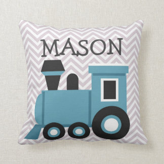 Boys Blue Train Personalised Pillow