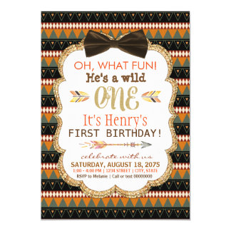 Boys Boho Tribal First Birthday Party Card
