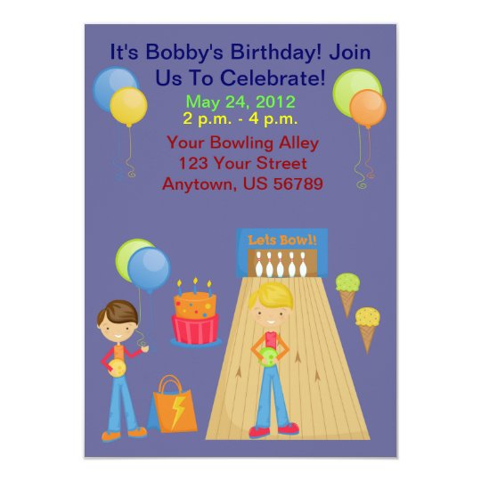 Boys Bowling Birthday Party Invitations