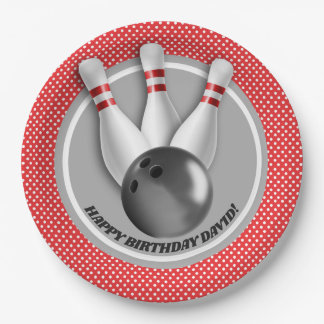 Boy's Bowling Theme Birthday Party Paper Plate