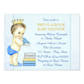 Boys Bring A Book Baby Shower Custom Invitations