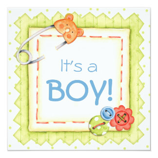 Boys, Buttons & Bears Baby Shower Invitation