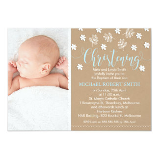 Boys Calligraphy Floral Christening Invitation