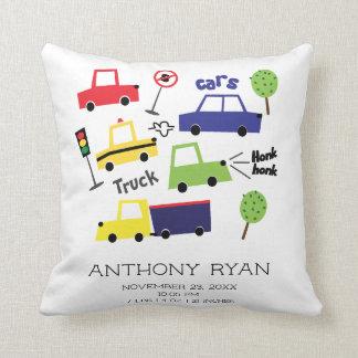 Boys Cars & Trucks Baby Birth Stats Pillow