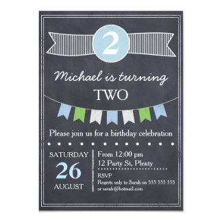 Boys Chalkboard Birthday Invitation