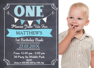 Boy 1st birthday invitations zazzle boys chalkboard bunting 1st birthday invitation filmwisefo