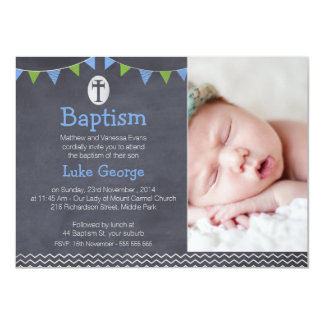 Boys Chalkboard Bunting Chevron Baptism Invitation