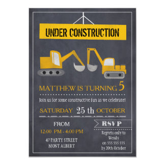 Boys Chalkboard Construction Birthday Invitation