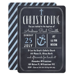 Boys Chalkboard Nautical Christening Invitation