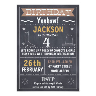 Boys Chalkboard Wild West Birthday Invitation