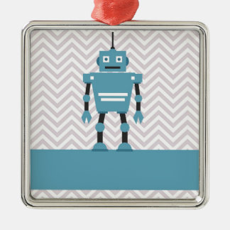 Boy's Chevron Personalised Blue Robot Metal Ornament