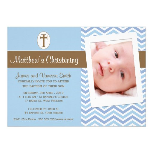 Boys Christening Baptism Invitation