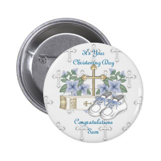 Boys Christening Shoes 6 Cm Round Badge