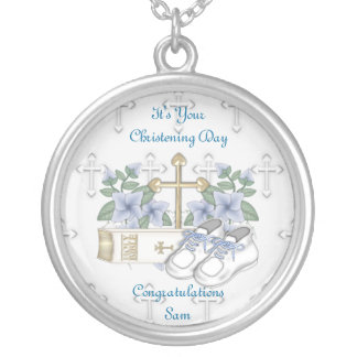 Boys Christening Shoes Silver Plated Necklace