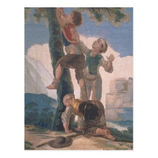 Boys Climbing a Tree Postcard