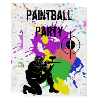 Boys Colorful Paintball 10th Birthday Party Card