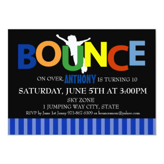 Boys Colorful Trampoline Bounce Party Invitation