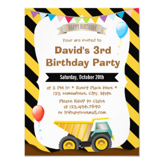 Boys Construction Birthday Party Card