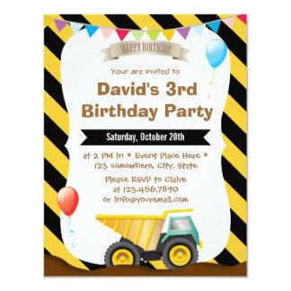 Boys Construction Birthday Party Invitations