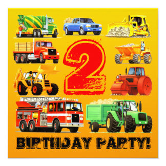 Boy's Construction Truck 2nd Birthday Party 13 Cm X 13 Cm Square Invitation Card