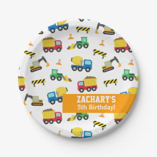 Boys Construction Vehicles Pattern Birthday Party Paper Plate