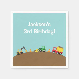 Boys Construction Vehicles Theme Birthday Party Disposable Napkin