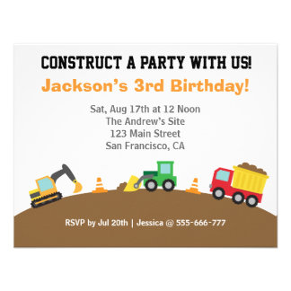 Boys Construction Vehicles Theme Birthday Party Personalized Invitation