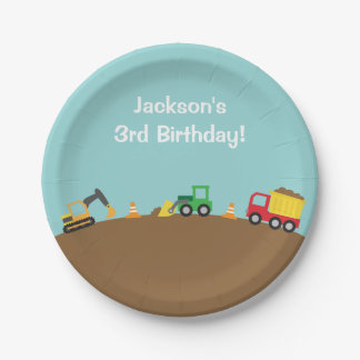 Boys Construction Vehicles Theme Birthday Party Paper Plate