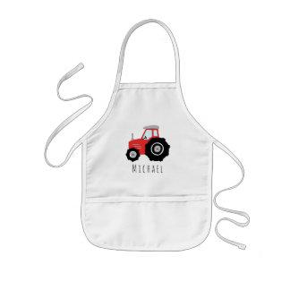 Boy's Cool Doodle Red Farm Tractor with Name Kids Apron