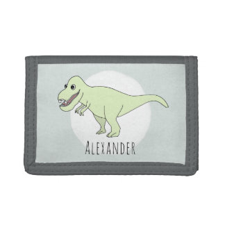 Boy's Cool Doodle T-Rex Dinosaur with Name Trifold Wallet
