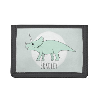 Boy's Cool Doodle Triceratops Dinosaur with Name Tri-fold Wallet