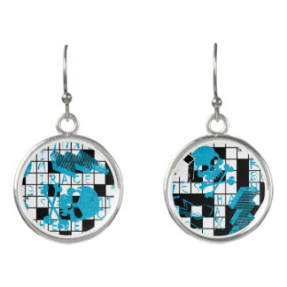 Boy's crossword puzzle earrings