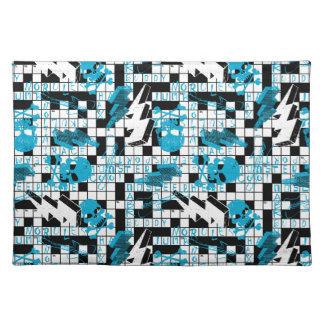 Boy's crossword puzzle placemat