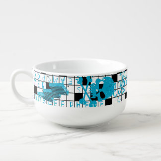 Boy's crossword puzzle soup mug