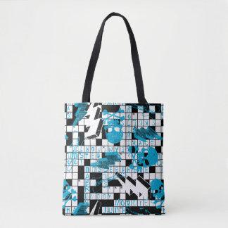 Boy's crossword puzzle tote bag
