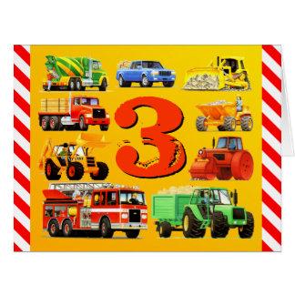 Boy's Custom Happy 3rd Birthday Construction Truck Big Greeting Card
