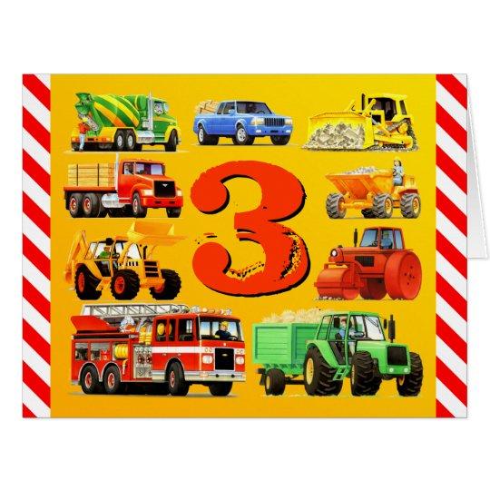 Boy's Custom Happy 3rd Birthday Construction Truck Card
